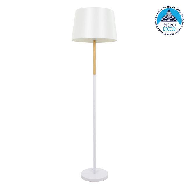 ASHLEY 00828 Μοντέρνο Φωτιστικό Δαπέδου Μονόφωτο Μεταλλικό Λευκό με Καπέλο και Ξύλινη Λεπτομέρεια Φ40 x Υ148cm - 1