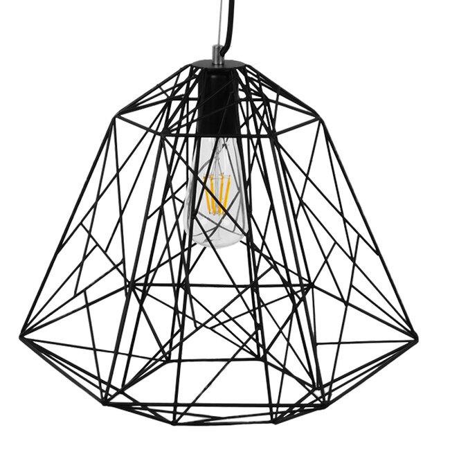 Vintage Industrial Kρεμαστό Φωτιστικό Οροφής Μονόφωτο Μαύρο Μεταλλικό Πλέγμα Φ32  GRID 01022 - 4