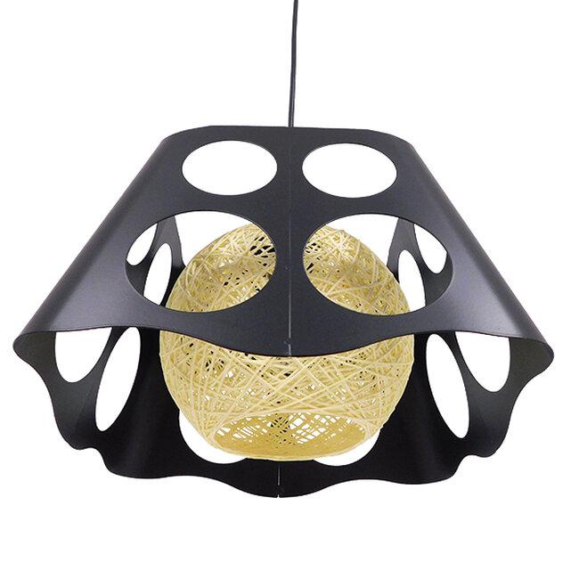 Μοντέρνο Industrial Κρεμαστό Φωτιστικό Οροφής Μονόφωτο Μαύρο με Εκρού Μεταλλικό Πλέγμα 28x28x22cm  CARTER 28x28x22cm 00962 - 6