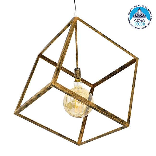 Μοντέρνο Κρεμαστό Φωτιστικό Οροφής Μονόφωτο Χρυσό Σκουριά Μεταλλικό Πλέγμα 70x70x87CM GloboStar CUBE GOLD RUST 70x70x87CM 01674 - 1