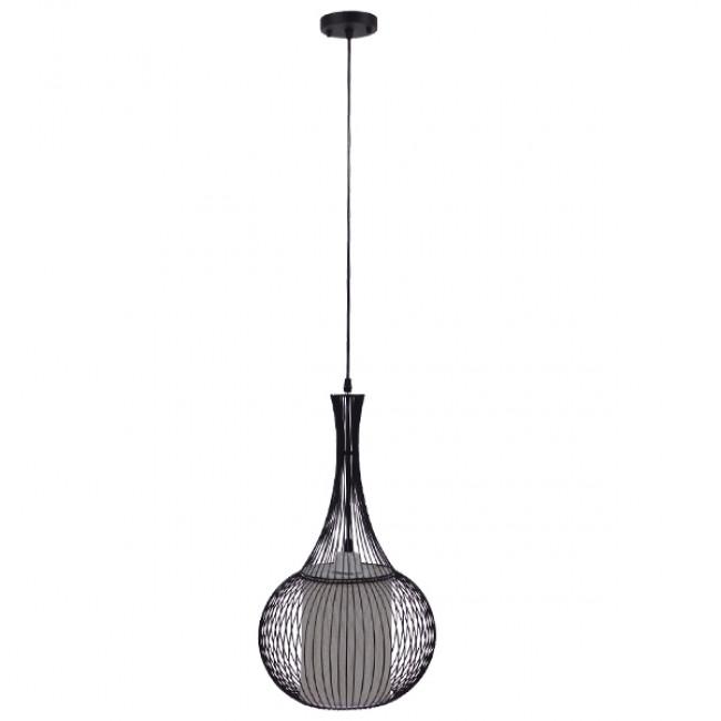 Μοντέρνο Κρεμαστό Φωτιστικό Οροφής Μονόφωτο Μαύρο Μεταλλικό Πλέγμα με Υφασμάτινο Εσωτερικό Καπέλο Φ30  BERNA 01198 - 2