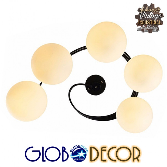 Μοντέρνο Φωτιστικό Οροφής Πολύφωτο Μαύρο Μεταλλικό με Λευκό Γυαλί Φ63  SELINA 01090 - 7