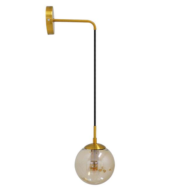 Μοντέρνο Φωτιστικό Τοίχου Απλίκα Μονόφωτο Χρυσό με Μελί Γυαλί Φ15  MADISON 01427 - 3