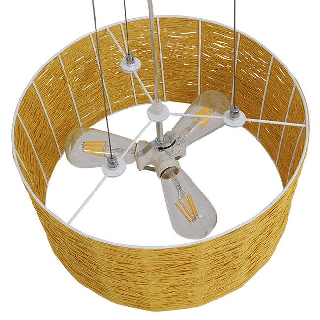 Vintage Κρεμαστό Φωτιστικό Οροφής Μονόφωτο Καφέ Ξύλινο Bamboo Φ40  MADAGASKAR 01630 - 7
