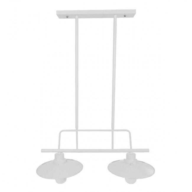 Vintage Industrial Φωτιστικό Οροφής Δίφωτο Λευκό Μεταλλικό Ράγα GloboStar BILLIARD WHITE 01008 - 4