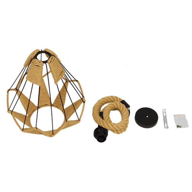 Vintage Κρεμαστό Φωτιστικό Οροφής Μονόφωτο Πλέγμα με Μπεζ Σχοινί Φ31 GloboStar CONICAL 01617 - 9