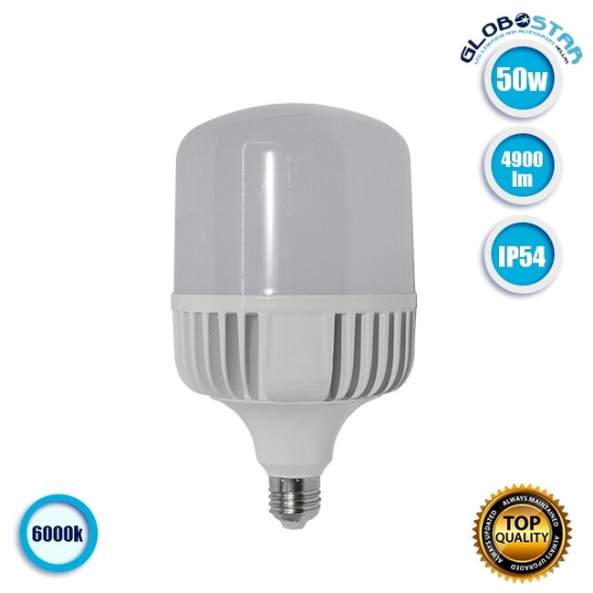 Λάμπα LED E27 High Bay 50W 230V 4900lm 260° Αδιάβροχη IP54 Ψυχρό Λευκό 6000k  60063