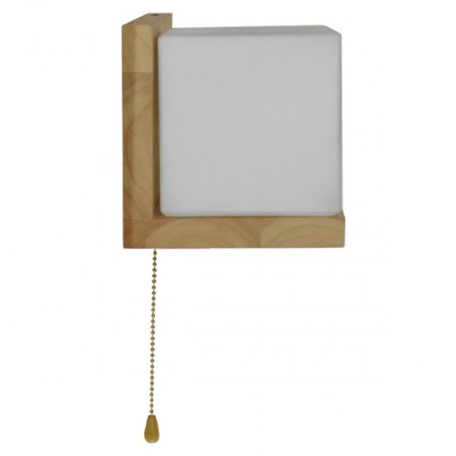 Μοντέρνο Φωτιστικό Τοίχου Απλίκα Ραφάκι Μονόφωτο Ξύλινο με Λευκό Ματ Γυαλί GloboStar AMITY LEFT 01365 - 9