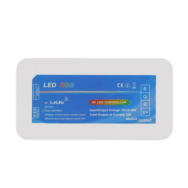 Σετ Ασύρματο RF 2.4G LED Controller Τοίχου Αφής RGB 12-24 Volt 576/1152 Watt για Τέσσερα Group GloboStar 04054 - 2