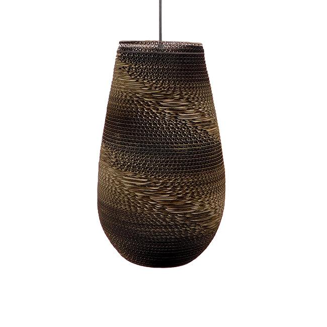 Vintage Κρεμαστό Φωτιστικό Οροφής Μονόφωτο 3D από Επεξεργασμένο Σκληρό Καφέ Χαρτόνι Καμπάνα Φ25  IKARIA 01294 - 6