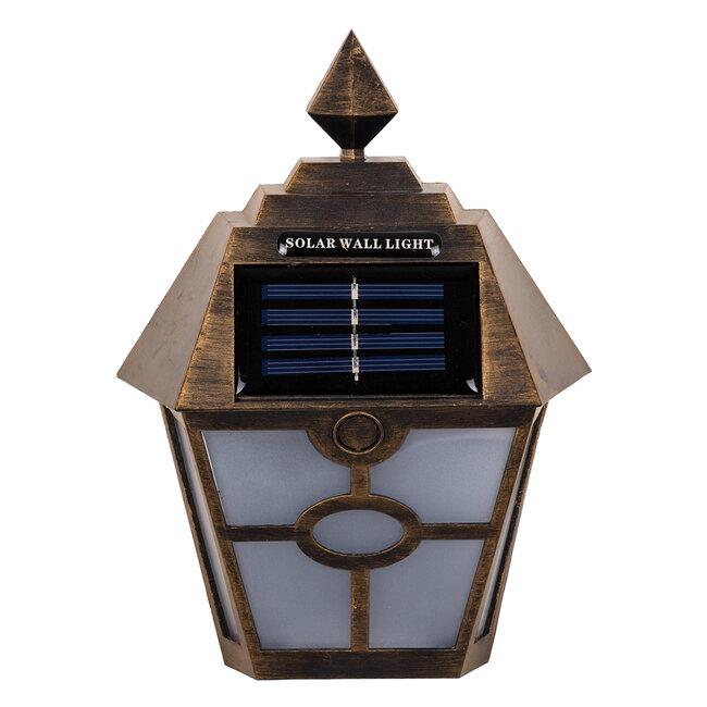 GloboStar® 71492 Αυτόνομο Ηλιακό Φωτιστικό Τοίχου Μπρονζέ Σκουριά LED SMD 1W 100lm με Ενσωματωμένη Μπαταρία 600mAh - Φωτοβολταϊκό Πάνελ με Αισθητήρα Ημέρας-Νύχτας IP65 Ψυχρό Λευκό 6000K - 3