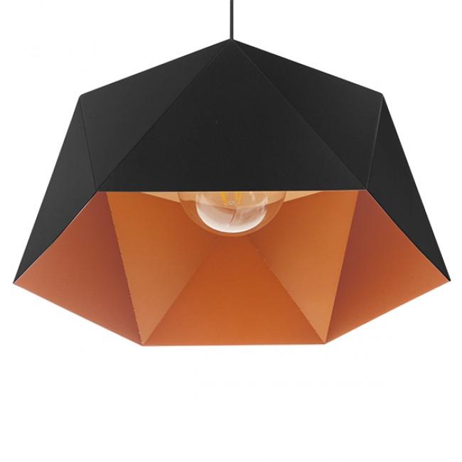Μοντέρνο Κρεμαστό Φωτιστικό Οροφής Μονόφωτο Μαύρο Χρυσό Μεταλλικό Καμπάνα Φ46  SYLRA 01195 - 6