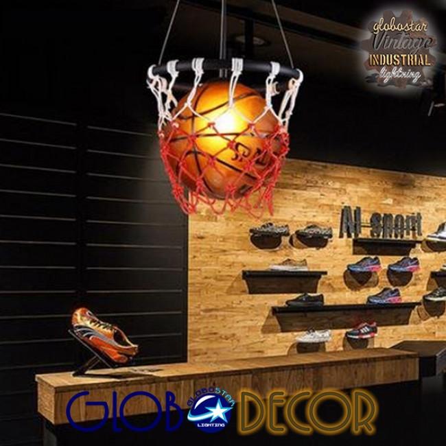 Μοντέρνο Κρεμαστό Φωτιστικό Οροφής Μονόφωτο Πορτοκαλί Μεταλλικό Πλέγμα Φ32 GloboStar NBA  01027 - 8