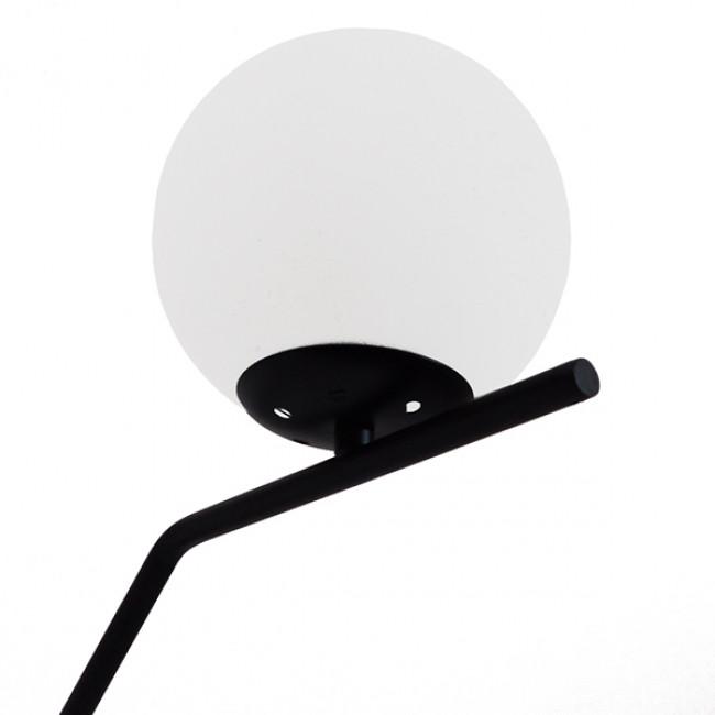 Μοντέρνο Επιτραπέζιο Φωτιστικό Πορτατίφ Μονόφωτο Μαύρο Μεταλλικό με Λευκό Γυαλί Φ23 GloboStar ELFRIS 01100 - 12