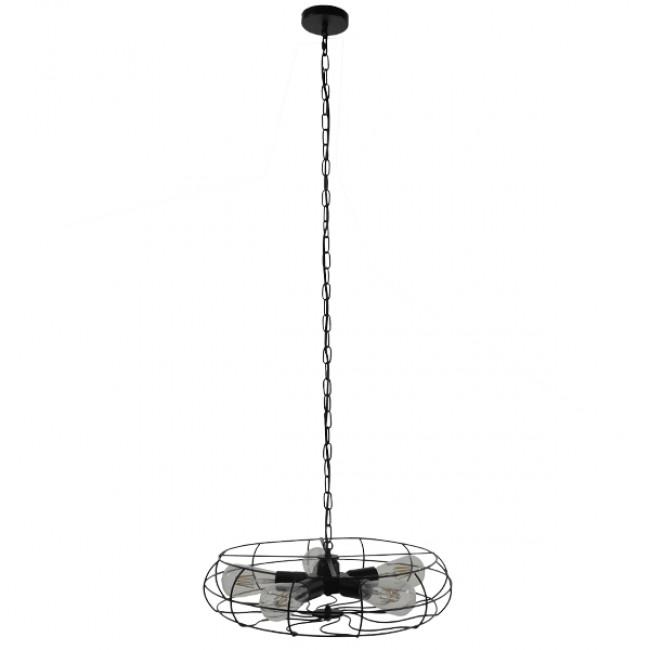 Vintage Industrial Κρεμαστό Φωτιστικό Οροφής Πολύφωτο Μαύρο Μεταλλικό Πλέγμα Φ46  HELIX 01164 - 2
