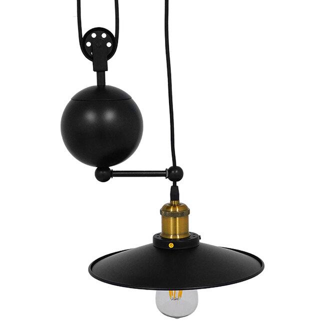 Vintage Industrial Κρεμαστό Φωτιστικό Οροφής Μονόφωτο Μαύρο Μεταλλικό με Ρυθμιζόμενη Ανάρτηση  SCALES 01549 - 4