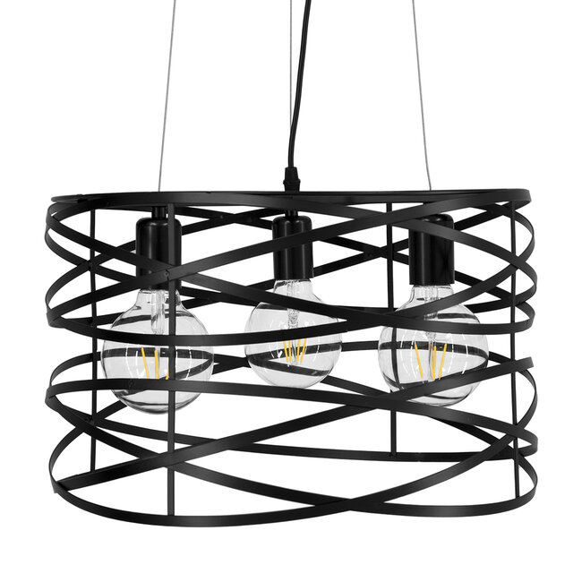 TOKEN 00855 Μοντέρνο Industrial Κρεμαστό Φωτιστικό Οροφής Τρίφωτο Μαύρο Μεταλλικό Πλέγμα Φ43 x Υ29cm - 5