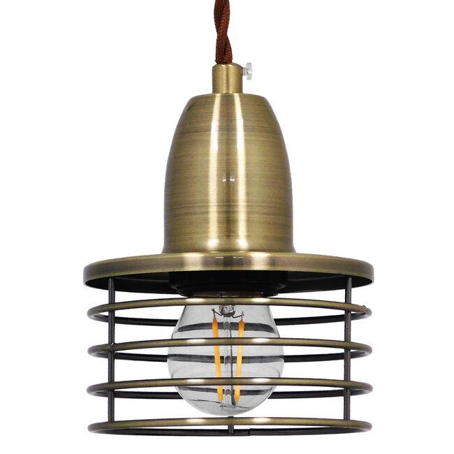 Μοντέρνο Industrial Κρεμαστό Φωτιστικό Οροφής Μονόφωτο Μεταλλικό Μπρούτζινο Καμπάνα Φ11  MANHATTAN BRONZE 01455 - 2
