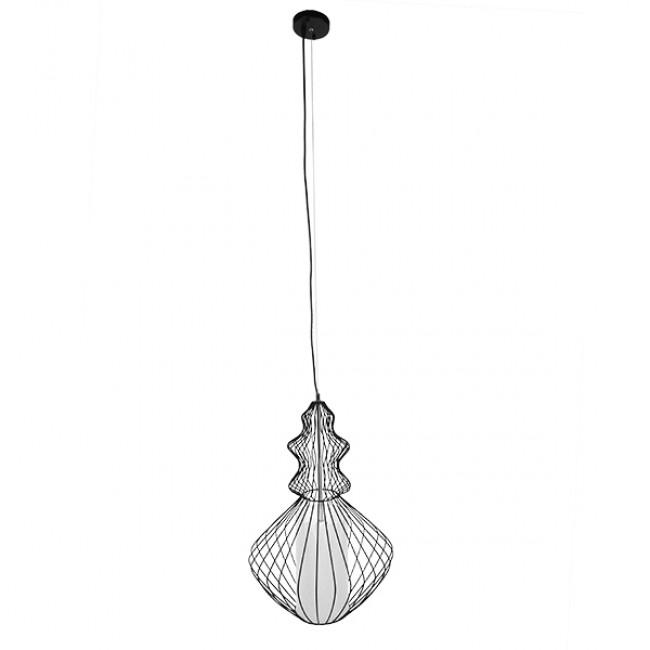 Vintage Industrial Κρεμαστό Φωτιστικό Οροφής Μονόφωτο Μαύρο Μεταλλικό Πλέγμα και Υφασμάτινο Εσωτερικό Καπέλο Φ40 GloboStar LILY 01558 - 2