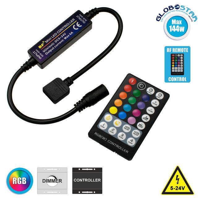 73429 Ασύρματος LED RGB Controller με Χειριστήριο RF 2.4Ghz DC 5-24V Max 144W