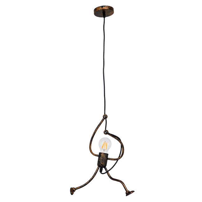 Μοντέρνο Κρεμαστό Φωτιστικό Οροφής Μονόφωτο Καφέ Σκουριά Μεταλλικό Φ20  LITTLE MAN IRON RUST 01653 - 2