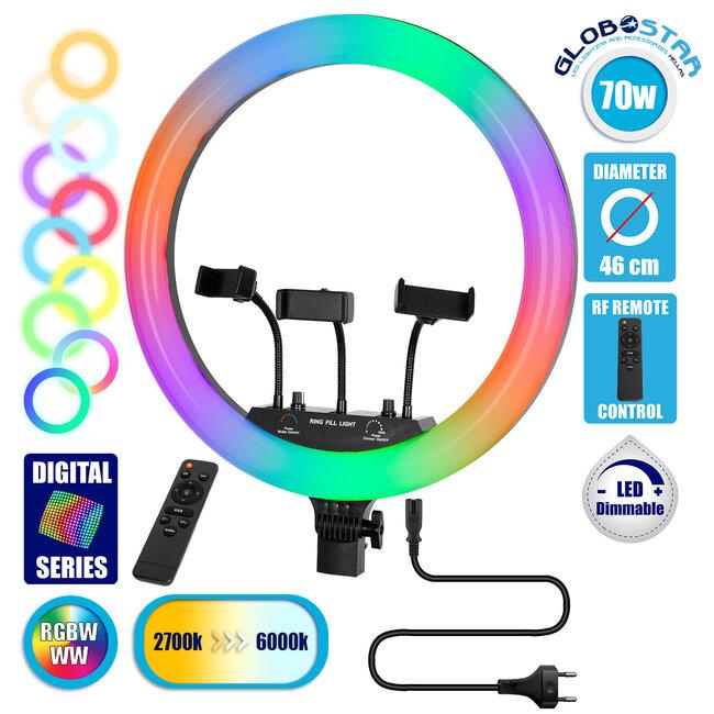 GloboStar® 75805 Professional Digital Ring Light Φ46cm LED SMD 70W 7000lm 180° AC 230V με Καλώδιο Τροφοδοσίας Πρίζας - Ασύρματο Χειριστήριο RF 2.4Ghz Εναλλαγής Χρωμάτων & 3 Βάσεις Τηλεφώνου - Πολύχρωμ