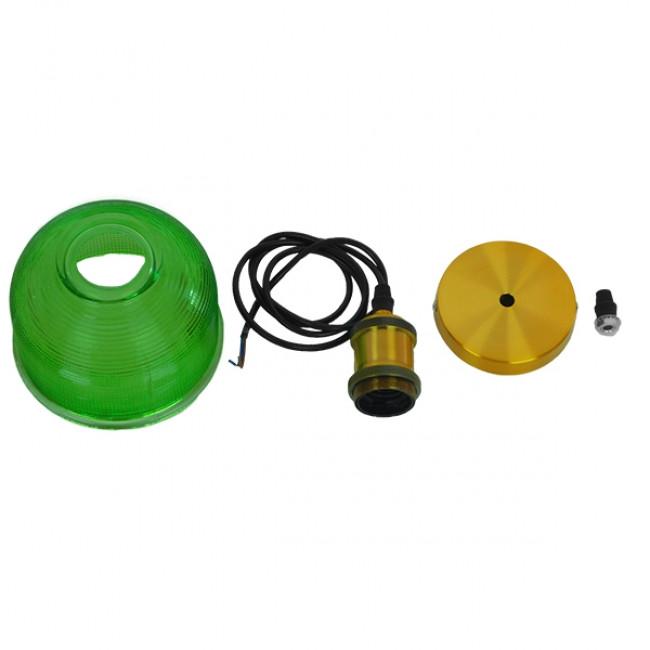 Vintage Κρεμαστό Φωτιστικό Οροφής Μονόφωτο Πράσινο Γυάλινο Διάφανο Καμπάνα με Χρυσό Ντουί Φ14 GloboStar SEGRETO GREEN 01451 - 9