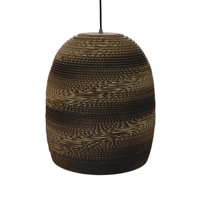 Vintage Κρεμαστό Φωτιστικό Οροφής Μονόφωτο 3D από Επεξεργασμένο Σκληρό Καφέ Χαρτόνι Καμπάνα Φ35  SKIATHOS 01296 - 4