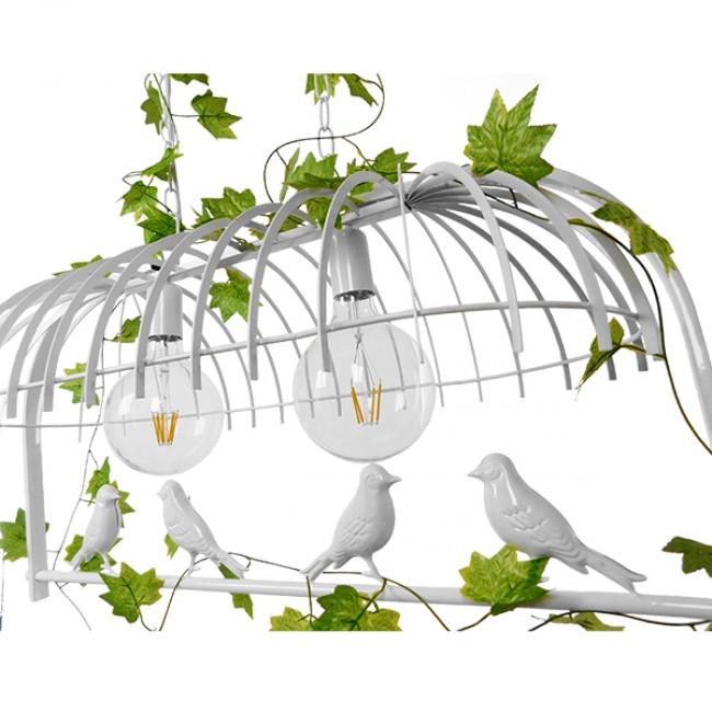 Vintage Industrial Κρεμαστό Φωτιστικό Οροφής Δίφωτο Λευκό Μεταλλικό Πλέγμα  ESSENCE 01644 - 7