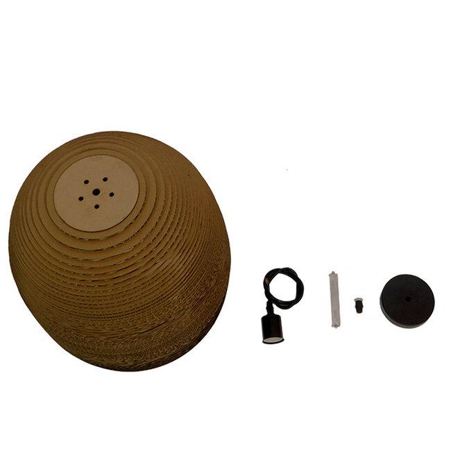 Vintage Κρεμαστό Φωτιστικό Οροφής Μονόφωτο 3D από Επεξεργασμένο Σκληρό Καφέ Χαρτόνι Καμπάνα Φ35  SKIATHOS 01296 - 10