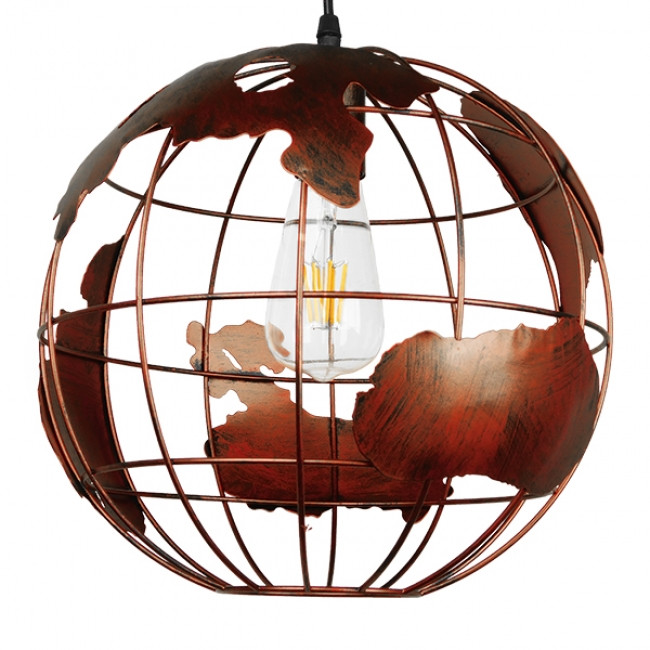 Vintage Industrial Κρεμαστό Φωτιστικό Οροφής Μονόφωτο Καφέ Σκουριά Μεταλλικό Πλέγμα Φ30 GloboStar EARTH RUST 30CM 01662 - 3
