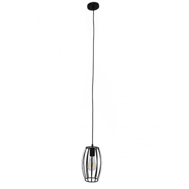 Vintage Industrial Κρεμαστό Φωτιστικό Οροφής Μονόφωτο Μαύρο Μεταλλικό Πλέγμα Φ14  ZEBRA 01062 - 2