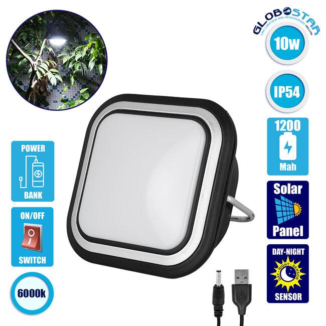 71486 Αυτόνομο Ηλιακό Φωτιστικό Λάμπα - Φανάρι Camping LED SMD 10W 1000lm με USB PowerBank & Ενσωματωμένη Μπαταρία 1200mAh - Φωτοβολταϊκό Πάνελ με Αισθητήρα Ημέρας-Νύχτας και Διακόπτη ON/OFF IP54 Ψυχρό Λευκό 6000K