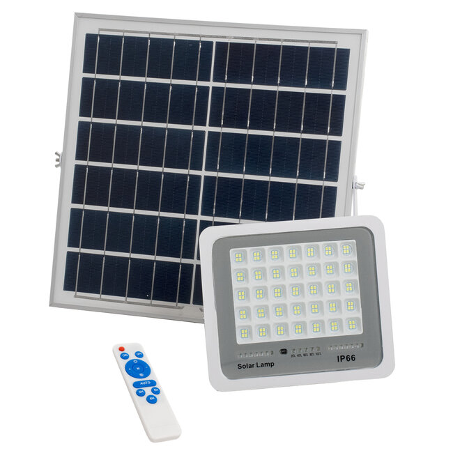 71559 Αυτόνομος Ηλιακός Προβολέας LED SMD 100W 12000lm με Ενσωματωμένη Μπαταρία 10000mAh - Φωτοβολταϊκό Πάνελ με Αισθητήρα Ημέρας-Νύχτας και Ασύρματο Χειριστήριο RF 2.4Ghz Αδιάβροχος IP66 Ψυχρό Λευκό 6000K - 2