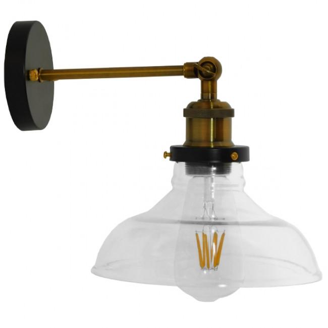 Vintage Φωτιστικό Τοίχου Απλίκα Μονόφωτο Μπρούτζινο Μεταλλικό με Γυάλινη Καμπάνα Φ15 GloboStar LIVID 01159 - 3