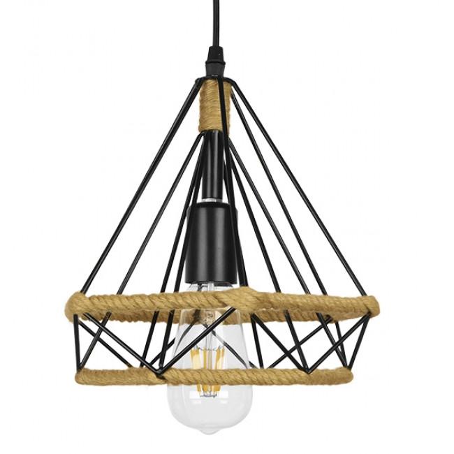 Vintage Κρεμαστό Φωτιστικό Οροφής Μονόφωτο Μαύρο Μεταλλικό με Μπεζ Σχοινί Φ25 GloboStar FLUTED 01421 - 3