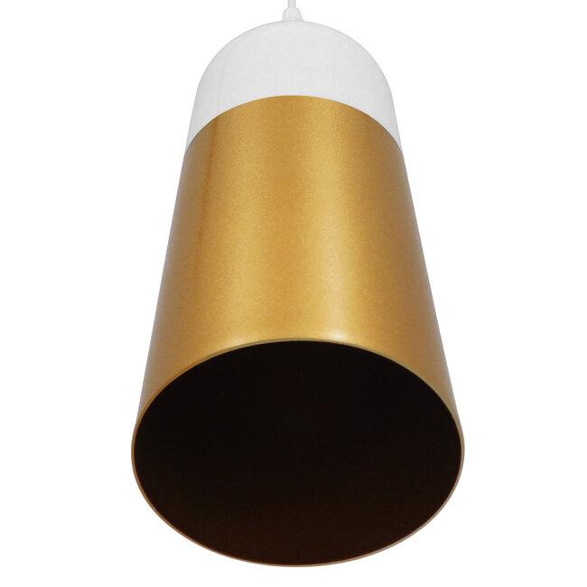 Μοντέρνο Κρεμαστό Φωτιστικό Οροφής Μονόφωτο Λευκό - Χρυσό Μεταλλικό Καμπάνα Φ14  PALAZZO GOLD WHITE 01524 - 6