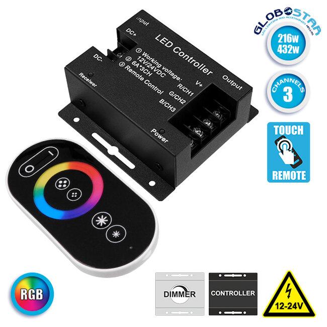 73406 Ασύρματος LED RGB Controller με Χειριστήριο Αφής 2.4G RF 12v (216w) - 24v (432w) DC - 1