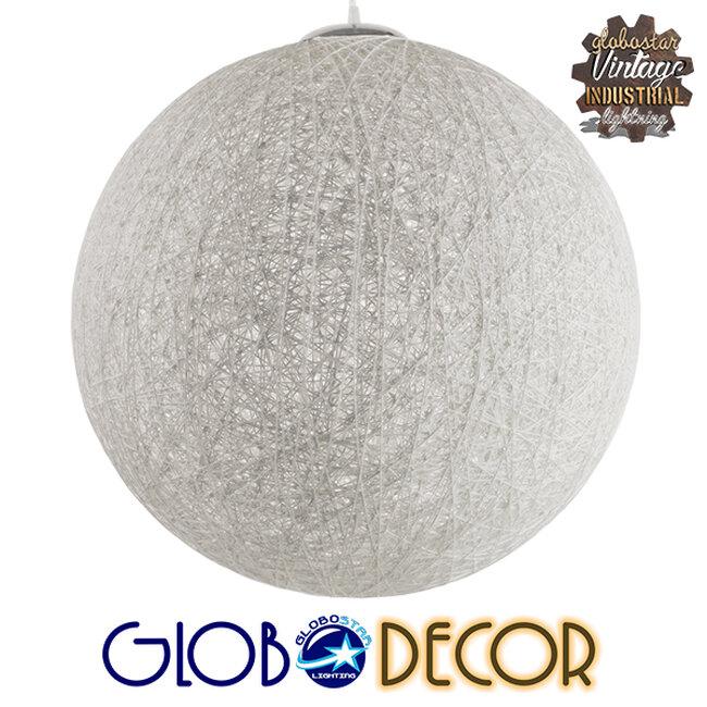 Vintage Κρεμαστό Φωτιστικό Οροφής Μονόφωτο Λευκό Ξύλινο Ψάθινο Rattan Φ60  KETTLE 01363 - 1