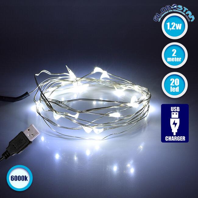 79730 Διακοσμητική Γιρλάντα 2 Μέτρων 20 LED USB 5 Volt 1.2 Watt με Ασημένιο Συρμάτινο Καλώδιο Ψυχρό Λευκό 6000k - 1