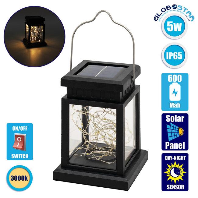 71505 Αυτόνομο Ηλιακό Κρεμαστό Διακοσμητικό Φωτιστικό Φανάρι LED 5W 300 lm με Ενσωματωμένη Μπαταρία 600mAh - Φωτοβολταϊκό Πάνελ με Αισθητήρα Ημέρας-Νύχτας IP65 Θερμό Λευκό 3000k