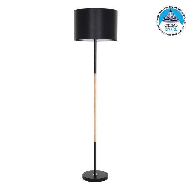 ASHLEY 00824 Μοντέρνο Φωτιστικό Δαπέδου Μονόφωτο Μεταλλικό Μαύρο με Καπέλο και Ξύλινη Λεπτομέρεια Φ40 x Υ145cm - 1