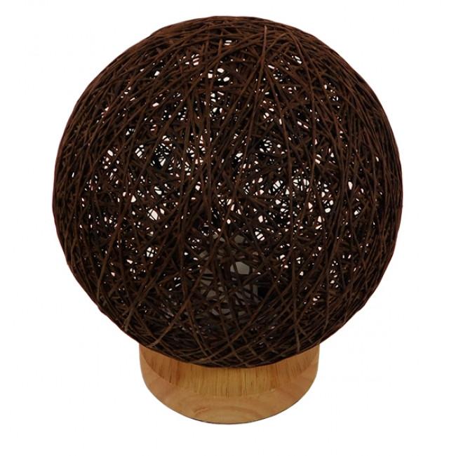 Μοντέρνο Επιτραπέζιο Φωτιστικό Πορτατίφ Μονόφωτο Καφέ Σκούρο Ξύλινο Ψάθινο Rattan Φ20 GloboStar WESTON 01337 - 2