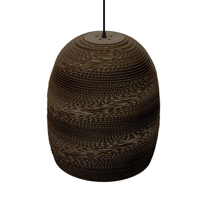 Vintage Κρεμαστό Φωτιστικό Οροφής Μονόφωτο 3D από Επεξεργασμένο Σκληρό Καφέ Χαρτόνι Καμπάνα Φ35  SKIATHOS 01296 - 5