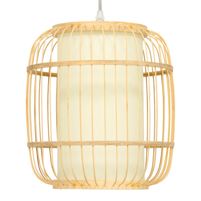GloboStar® DE PARIS 01633 Vintage Κρεμαστό Φωτιστικό Οροφής Μονόφωτο Μπεζ Ξύλινο Bamboo Φ26 x Y32cm - 4