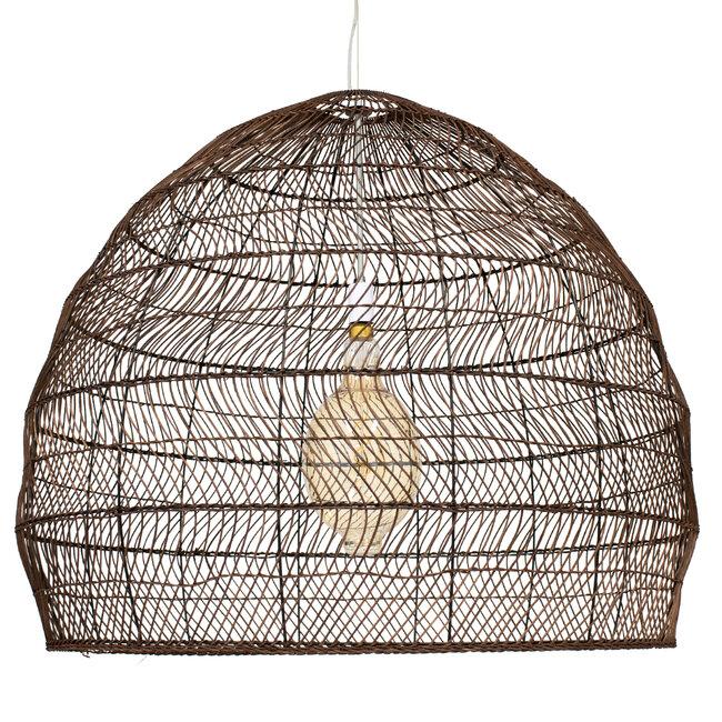 GloboStar® MALIBU 00967 Vintage Κρεμαστό Φωτιστικό Οροφής Μονόφωτο Λευκό Ξύλινο Bamboo Φ97 x Y86cm - 4