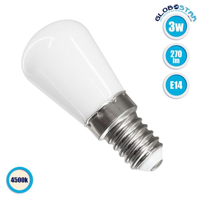 GloboStar® 76058 Λάμπα E14 S6 LED SMD 2835 3W 270lm 320° AC 230V Ψυγείου Φυσικό Λευκό 4500K - 1