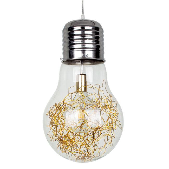 LAMP 00808 Μοντέρνο Κρεμαστό Φωτιστικό Οροφής Μονόφωτο Ασημί Νίκελ Βάση και Χρυσό Ντουί Μεταλλικό Διάφανο Γυαλί Φ30 x Υ52cm - 2