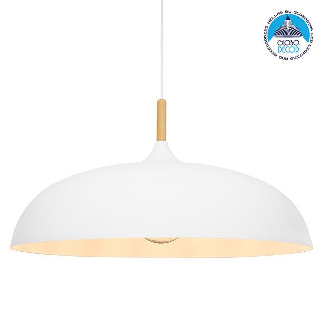GloboStar® ZOE 00837 Μοντέρνο Κρεμαστό Φωτιστικό Οροφής Μονόφωτο Λευκό Μεταλλικό Καμπάνα Φ60 x Υ35cm - 1
