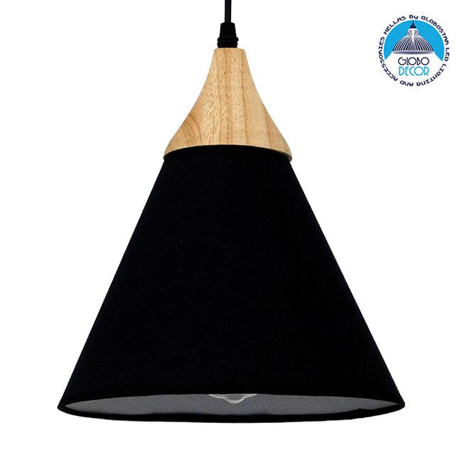 Μοντέρνο Κρεμαστό Φωτιστικό Οροφής Μονόφωτο Μαύρο Υφασμάτινο με Ξύλο Καμπάνα Φ25cm  SHADE BLACK 01576 - 1